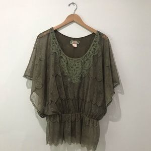 Flying Tomato olive green embroidered blouse large